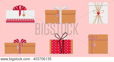 Set Of 6 Stylish Valentine's Day Gift Boxes. Vector Love Symbols In The Shape Of A Heart. Pink Backg
