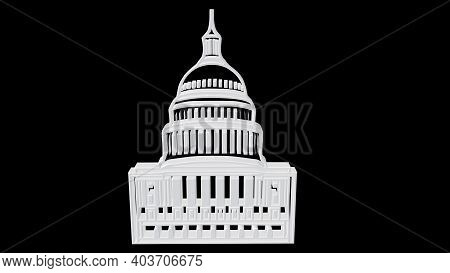 3d Illustration United States Capitol Building In Washington D.c. It Is The Seat Of The Congress And