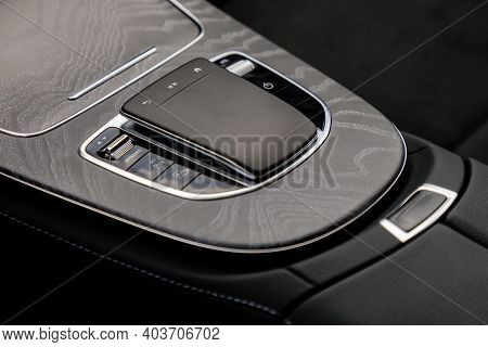 Control Panel In Interior Of Luxurious Car