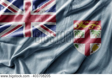 Waving Detailed National Country Flag Of Fiji
