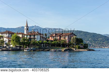 Verbano, Italy - May 10 2015 - Small Town In The Italian Lakes Area, Accessible Easily By Small Boat