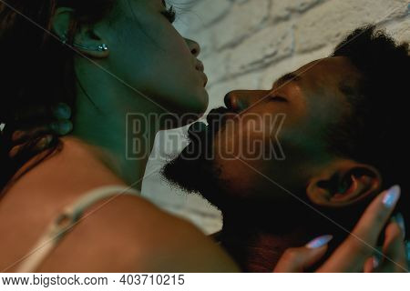 In The Mood For Love. Close Up Shot Of A Young Sensual African Couple, Man And Woman Kissing Before