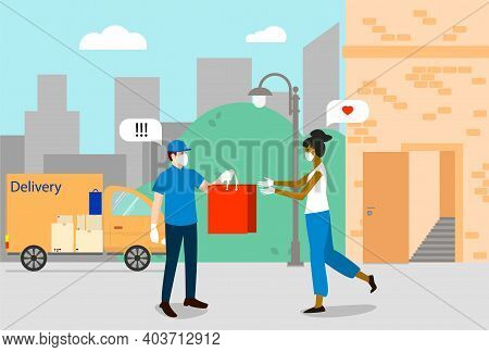The Delivery Man In A Medical Mask Gives The Red Package To The Girl. The Concept Of Delivering To T
