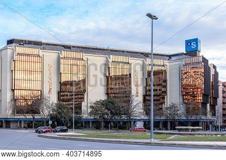 Sabadell - Catalonia, Spain - January 16th Of 2021: Main Facadde Of Banc Sabadell City Headquarters