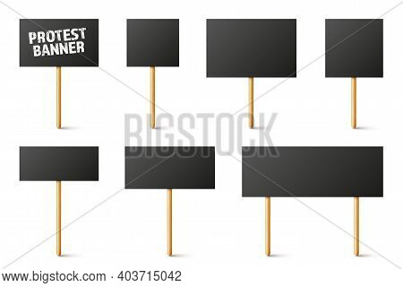 Blank Black Protest Signs With Wooden Holder. Realistic Vector Demonstration Banner. Strike Action C