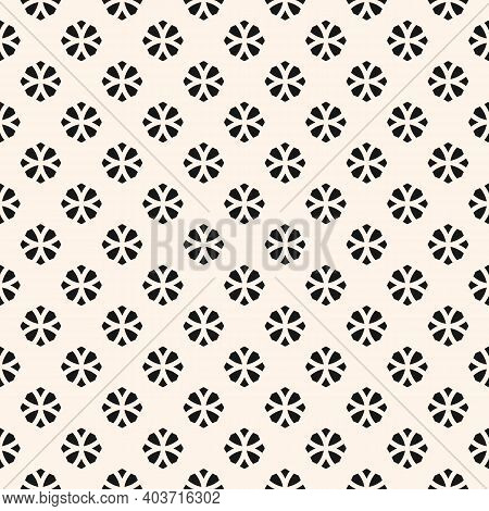 Vector Geometric Floral Seamless Pattern. Simple Monochrome Ornament With Small Flower Silhouettes,