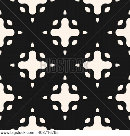 Simple Vector Monochrome Seamless Pattern With Big Curved Shapes, Crosses. Abstract Black And White
