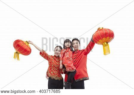 Portrait Of Family, Father Carrying Daugther In Arm, Parents Holding Red Lanterns, In Tang Suits