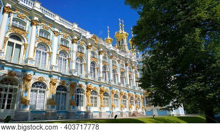 Pushkin, St. Petersburg, Russia - July, 2019: Facade And Golden Domes Of Catherine Palace Located In