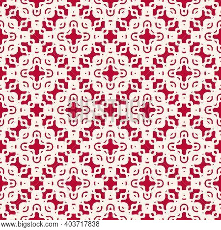 Vector Mesh Seamless Pattern With Wavy Shapes. Red And White Illustration Of Lace, Mesh, Net, Curved