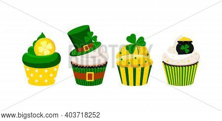St Patrick Cupcakes Set Isolated On White Background. Cute Irish Sweets Food - Icing Muffin With Cio