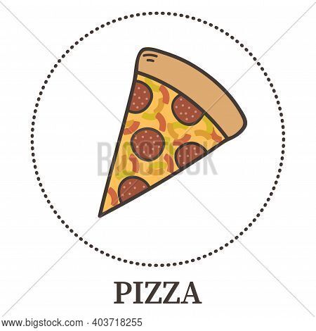 Abstract Pizza With Pepperoni And Different Types Of Sauces And Cheese - Vector Illustration