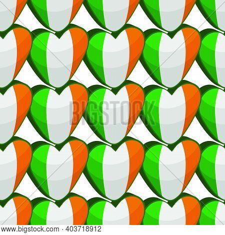Illustration On Theme Irish Holiday St Patrick Day, Seamless Color Hearts. Pattern St Patrick Day Co