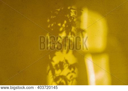 Yellow Concrete Wall. Texture Yellow Wall. Yellow Background. Shadow And Light On The Yellow Wall