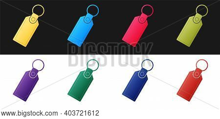 Set Rectangular Key Chain With Ring For Key Icon Isolated On Black And White Background. Vector