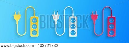 Paper Cut Electric Extension Cord Icon Isolated On Blue Background. Power Plug Socket. Paper Art Sty
