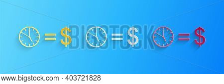 Paper Cut Time Is Money Icon Isolated On Blue Background. Money Is Time. Effective Time Management.
