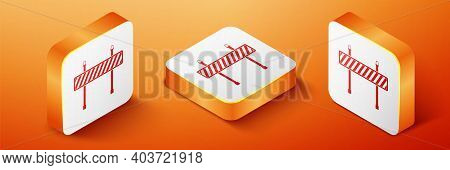 Isometric Road Barrier Icon Isolated On Orange Background. Fence Of Building Or Repair Works. Hurdle