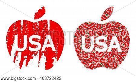 Vector American Apple Fractal Is Designed From Random Fractal American Apple Elements. Distress Amer