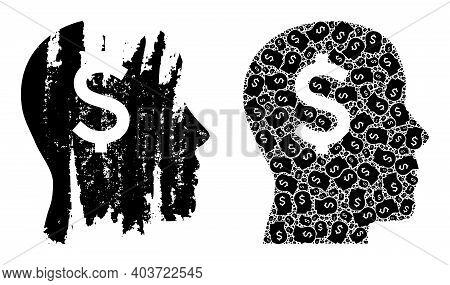 Vector Banker Head Composition Is Designed From Random Recursive Banker Head Pictograms. Rough Banke