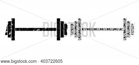 Vector Barbell Mosaic Is Created Of Randomized Fractal Barbell Parts. Textured Barbell Icon. Fractal