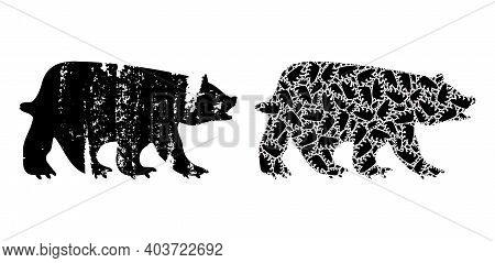 Vector Bear Fractal Is Composed Of Scattered Fractal Bear Icons. Scratched Bear Icon. Fractal Compos