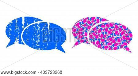 Vector Chat Mosaic Is Created With Scattered Fractal Chat Pictograms. Textured Chat Icon. Fractal Mo