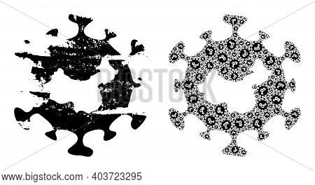 Vector Chinese Flu Virus Composition Is Designed From Scattered Fractal Chinese Flu Virus Items. Scr
