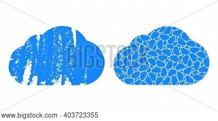 Vector Cloud Mosaic Is Composed Of Random Recursive Cloud Parts. Scratched Cloud Icon. Recursive Mos