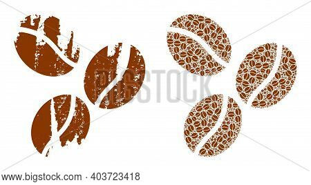 Vector Coffee Beans Mosaic Is Done From Randomized Fractal Coffee Beans Elements. Scratched Coffee B