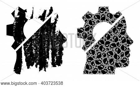 Vector Cyborg Gear Composition Is Constructed Of Randomized Fractal Cyborg Gear Pictograms. Rough Cy