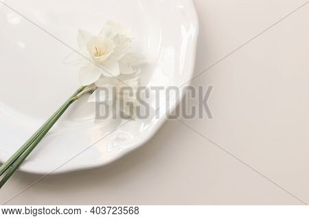 Styled Stock Photo. Spring, Easter Feminine Desktop Scene With White Narcissus, Daffodils Flowers On