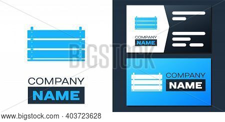 Logotype Wooden Box Icon Isolated On White Background. Grocery Basket, Storehouse Crate. Empty Woode