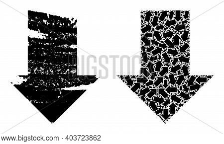 Vector Fall Down Arrow Mosaic Is Constructed From Repeating Fractal Fall Down Arrow Items. Distress