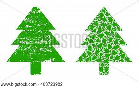 Vector Fir Tree Composition Is Designed With Random Recursive Fir Tree Icons. Grunge Fir Tree Icon.