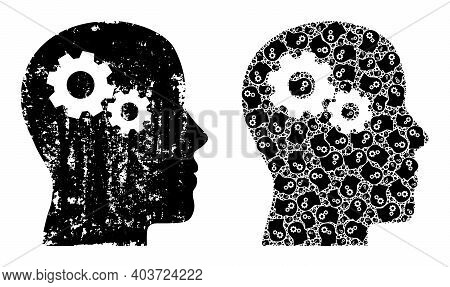 Vector Head Gears Collage Is Constructed From Repeating Fractal Head Gears Pictograms. Scratched Hea