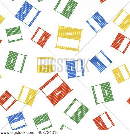 Color Street Stall With Awning And Wooden Rack Icon Isolated Seamless Pattern On White Background. K