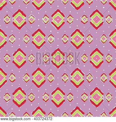 Abstract Seamless Pattern Of Rhombuses And Other Shapes. Bright Print On A Lilac Background.