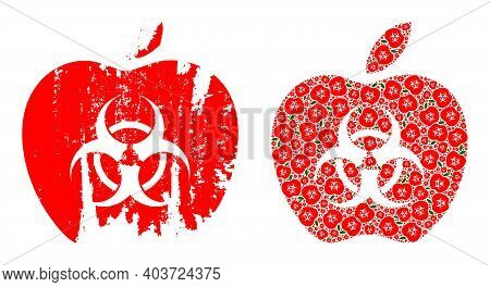 Vector Infected Apple Composition Is Organized From Scattered Recursive Infected Apple Parts. Textur