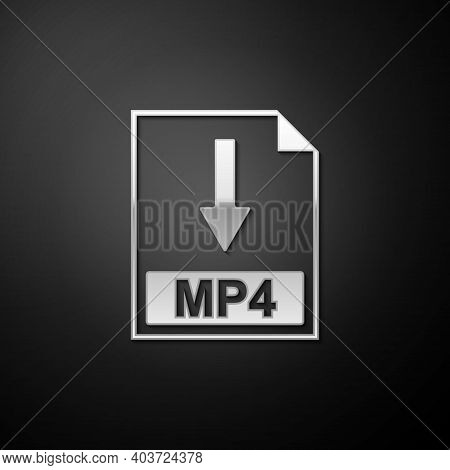 Silver Mp4 File Document Icon. Download Mp4 Button Icon Isolated On Black Background. Long Shadow St