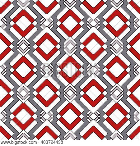 Beautiful Seamless Wallpaper, A Pattern Of Interweaving White Rhombuses With Red And Gray. Gray Back