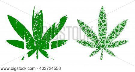 Vector Marijuana Composition Is Constructed Of Randomized Fractal Marijuana Parts. Rough Marijuana I