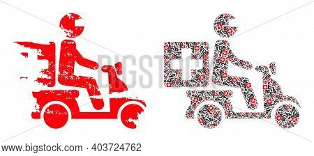 Vector Medical Motorbike Collage Is Formed With Random Fractal Medical Motorbike Icons. Rough Medica