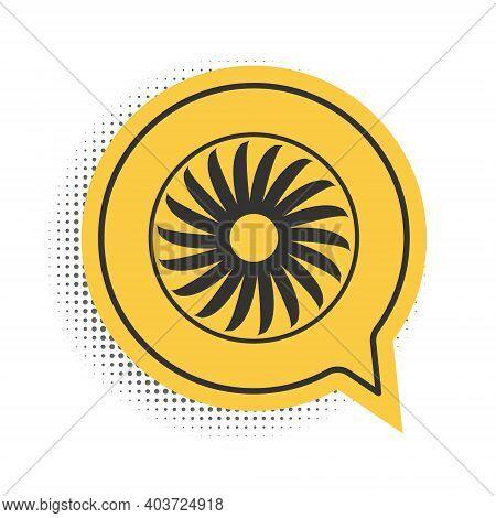 Black Ventilator Symbol Icon Isolated On White Background. Ventilation Sign. Yellow Speech Bubble Sy