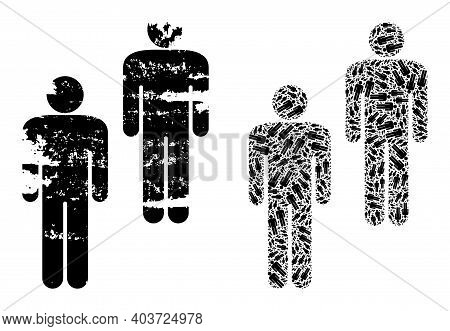 Vector People Composition Is Organized From Random Recursive People Parts. Textured People Icon. Rec