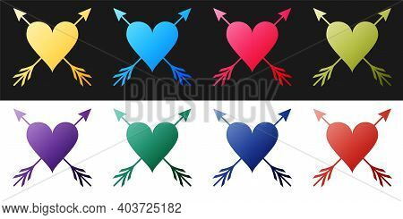 Set Heart With Arrow Icon Isolated On Black And White Background. Happy Valentines Day. Cupid Dart P