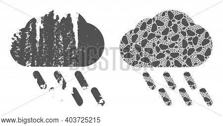 Vector Rain Fractal Is Made Of Randomized Recursive Rain Pictograms. Rough Rain Icon. Fractal Combin