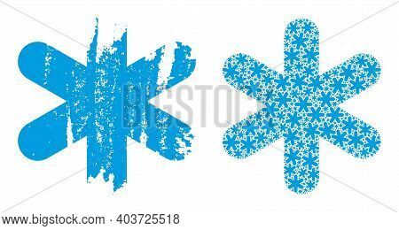 Vector Simple Snowflake Collage Is Composed From Random Itself Simple Snowflake Items. Distress Simp