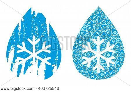 Vector Snow Fresh Drop Composition Is Organized With Scattered Recursive Snow Fresh Drop Parts. Grun