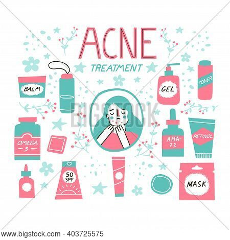 Acne Skin Concept. Skincare And Dermatology Elements Set Such As Retinoids, Cleanser, Omega-3, Toner